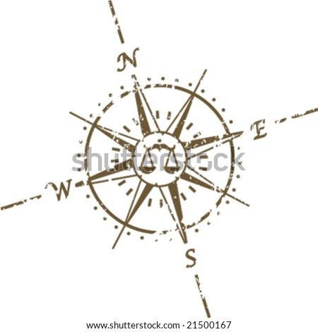 Grunge Libra Compass Tattoo Vector
