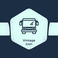 Grunge line Bus icon isolated on blue background. Transportation concept. Bus tour transport sign. Tourism or public vehicle symbol. Monochrome vintage drawing. Vector Illustration