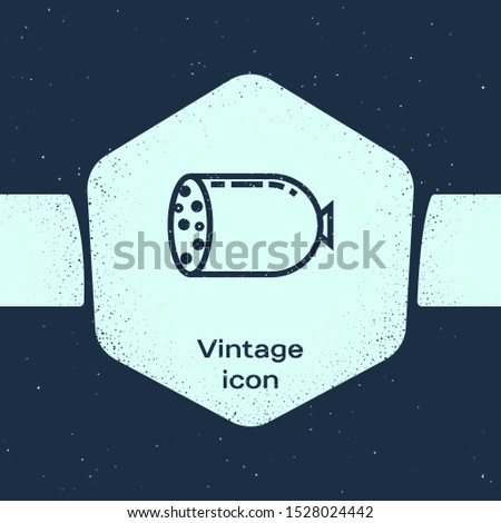 Grunge line Salami sausage icon isolated on blue background. Meat delicatessen product. Monochrome vintage drawing. Vector Illustration
