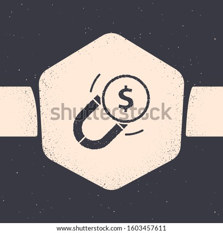 Grunge Magnet with money icon isolated on grey background. Concept of attracting investments. Big business profit attraction and success. Monochrome vintage drawing. Vector Illustration