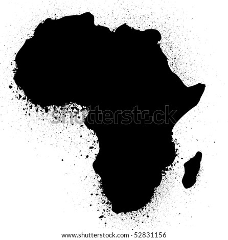 grunge map with flag of african ink vector illustration
