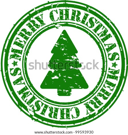 Grunge merry christmas rubber stamp, vector illustration