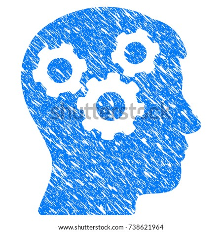 grunge mind gears icon with