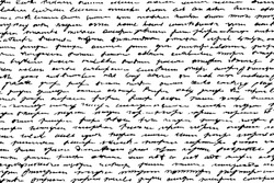 Grunge monochrome background of handwritten doodles imitating writing. Notes in illegible handwriting. Overlay template. Vector illustration