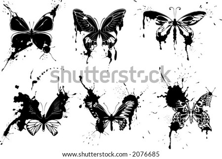 Grunge monochrome butterflies - scales to any size, change color as you wish