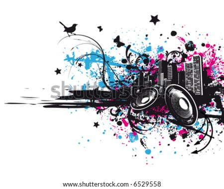 Grunge Music City - stock vector