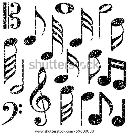 stock vector Grunge music notes vector