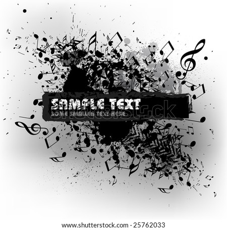 Grunge musical background with blots and place for your text (black and white)