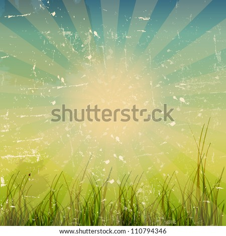 grunge nature background with space for text vector illustration