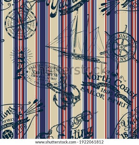 Grunge nautical badges and elements with striped background vintage marine vector seamless pattern
