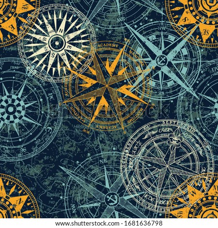 Grunge nautical rose wind compass vintage vector seamless pattern