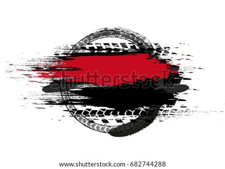 Grunge off-road post and quality stamp. Automotive collection useful for banner, sign, logo, icon, label and badge design . Tire tracks vector illustration. #682744288