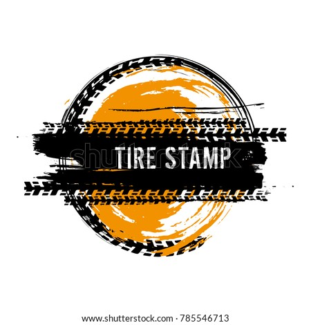 Grunge off-road post and quality stamp. Automotive element useful for banner, sign, logo, icon, label and badge design . Tire tracks textured vector illustration isolated on white background. #785546713