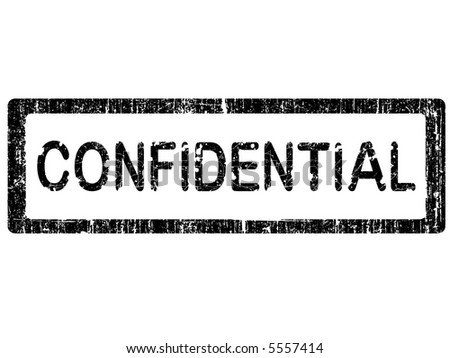 Grunge Office Stamp with the words CONFIDENTIAL in a grunge splattered text. (Letters have been uniquely designed and created by hand)