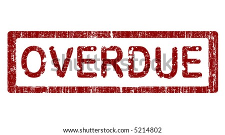 Grunge Office Stamp with the words OVERDUE in a grunge splattered text. (Letters have been uniquely designed and created by hand)