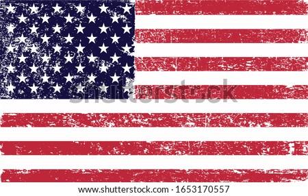 Grunge old American flag.Vector vintage USA flag.