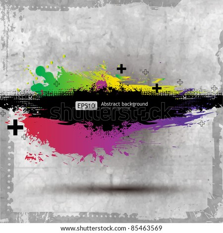 Grunge Old Paper background with a colorful rainbow ink splat effect
