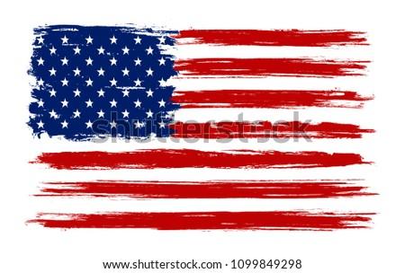 Grunge old USA flag.Vector American flag. #1099849298