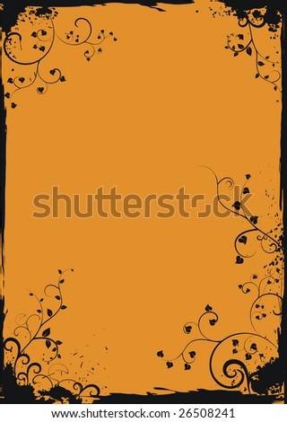 Grunge orange floral frame