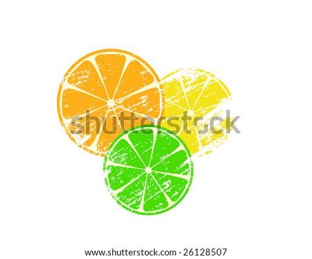 grunge orange, lime and lemon