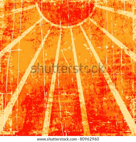 Grunge orange sun rays vector background