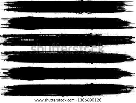 Grunge Paint Roller . Vector brush Stroke . Distressed banner . Black stripes isolated. paintbrush collection . Modern Textured shape . Dry border in Black . Bulge lines #1306600120
