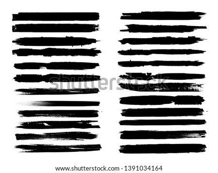 Grunge Paint Roller . Vector brush Stroke . Distressed banner . Black stripes isolated. paintbrush collection . Modern Textured shape . Dry border in Black . Bulge lines . Rough edges.