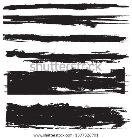 Grunge Paint Roller . Vector brush Stroke . Distressed banner . Black stripes isolated. paintbrush collection . Modern Textured shape . Dry border in Black . Bulge lines #1397326901