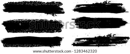 Grunge Paint stripe . Vector brush Stroke . Distressed banner . Black isolated paintbrush collection . Modern Textured shape . Dry border in Black . Bulge lines #1283462320