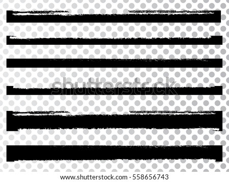 Grunge Paint stripe . Vector brush Stroke . Distressed banner . Black isolated paintbrush collection . Modern Textured shape . Dry border in Black . Dirty lines on transparent background