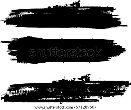 Grunge Paint stripe . Vector brush Stroke . Distressed banner . Black isolated paintbrush collection . Modern Textured shape . Dry border in Black .  #671289607