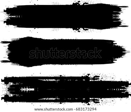 Grunge Paint stripe . Vector brush Stroke . Distressed banner . Black isolated paintbrush collection . Modern Textured shape . Dry border in Black  #683173294
