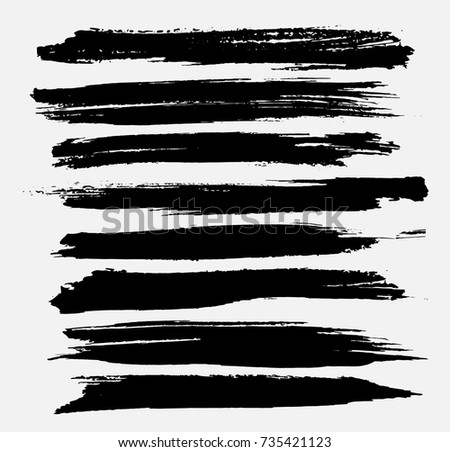 Grunge Paint stripe . Vector brush Stroke . Distressed banner . Black isolated paintbrush collection . Modern Textured shape . Dry border in Black .  #735421123