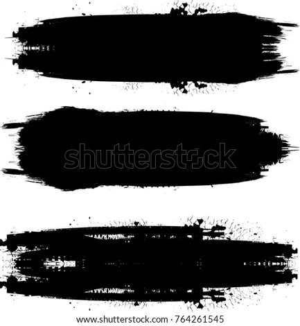Grunge Paint stripe . Vector brush Stroke . Distressed banner . Black isolated paintbrush collection . Modern Textured shape . Dry border in Black . Bulge lines #764261545