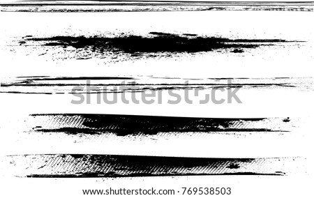 Grunge Paint stripe . Vector brush Stroke . Distressed banner . Black isolated paintbrush collection . Modern Textured shape . Dry border in Black .  #769538503