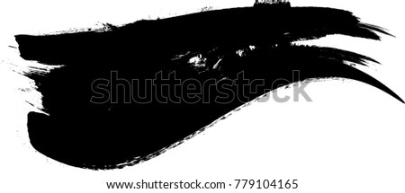 Grunge Paint stripe . Vector brush Stroke . Distressed banner . Black isolated paintbrush collection . Modern Textured shape . Dry border in Black . Bulge lines