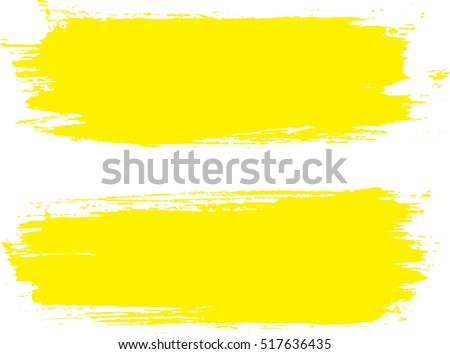 Grunge Paint stripe . Vector brush Stroke . Distressed banner . Yellow isolated paintbrush collection . Modern Textured shape . Dry border