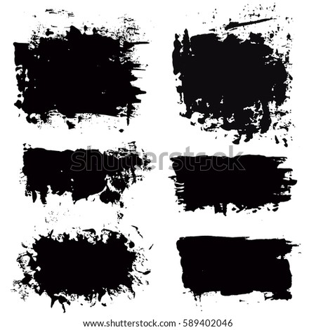 Grunge paint vector. Painted brush stroke stripes. Rectangle text box set. Distress texture backgrounds. Hand drawn banners, labels. Black textured design elements. Grungy scratch effect paintbrush #589402046
