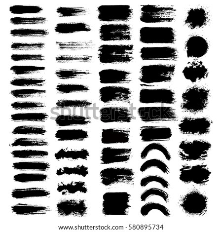 Grunge paint vector. Painted brush strokes. Rectangle text box set. Distress texture backgrounds. Hand drawn banner, label, frame shapes. Black textured design elements. Grungy scratch effect.