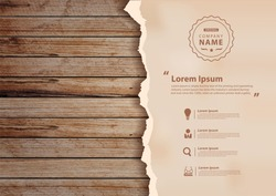 Grunge paper on wooden wall, Vector illustration design ( Image trace of wooden background )