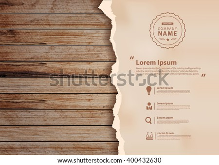 grunge paper on wooden wall