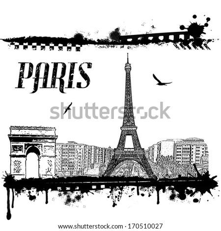 Grunge Paris cityscape background on white, vector illustration