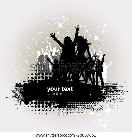 Grunge Party peoples, audience cheering success vector background