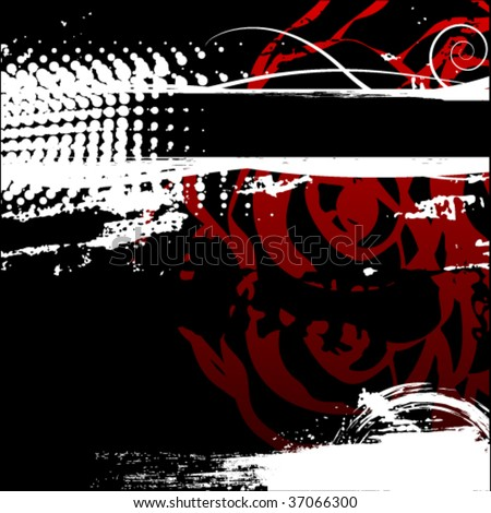 grunge passion black red background - stock vector