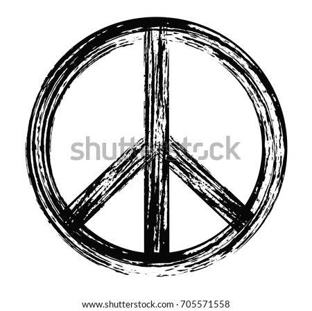 Grunge peace sign.Vector dirty peace symbol.