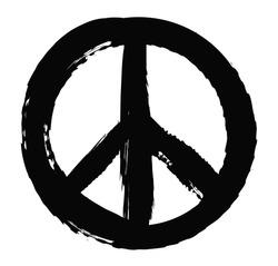 Grunge peace sign.Vector grunge peace symbol.