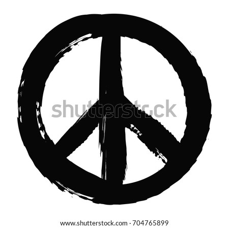 Grunge peace sign.Vector grunge peace symbol.