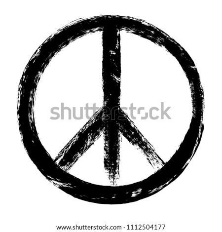 Grunge peace symbol.Vector peace sign.