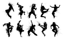 Grunge People Silhouettes. Collection dancing silhouettes in grunge style.