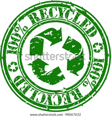 Grunge 100 percent recycle rubber stamp, vector illustration